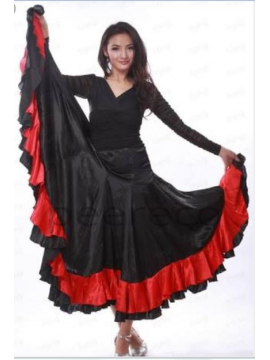 Black Lehenga With Red Embroidered