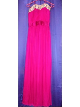 Bright Pink Gold-Laced Neck Halter Gown