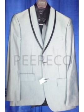Black Laced Collar Single Breasted Silver Suit