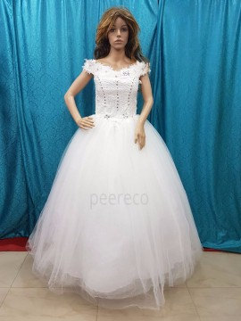 White RoundFloor-Length Ball Gown